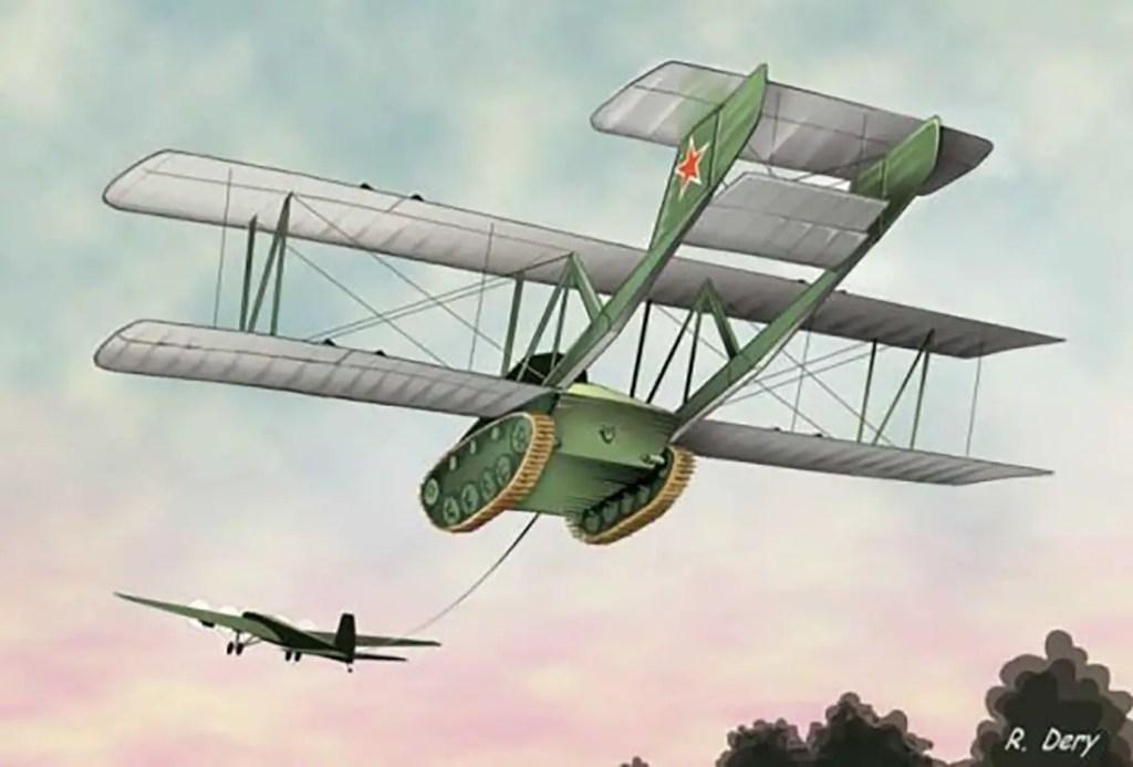 Ilustración de un A-40 siendo impulsado por un TB-3.
