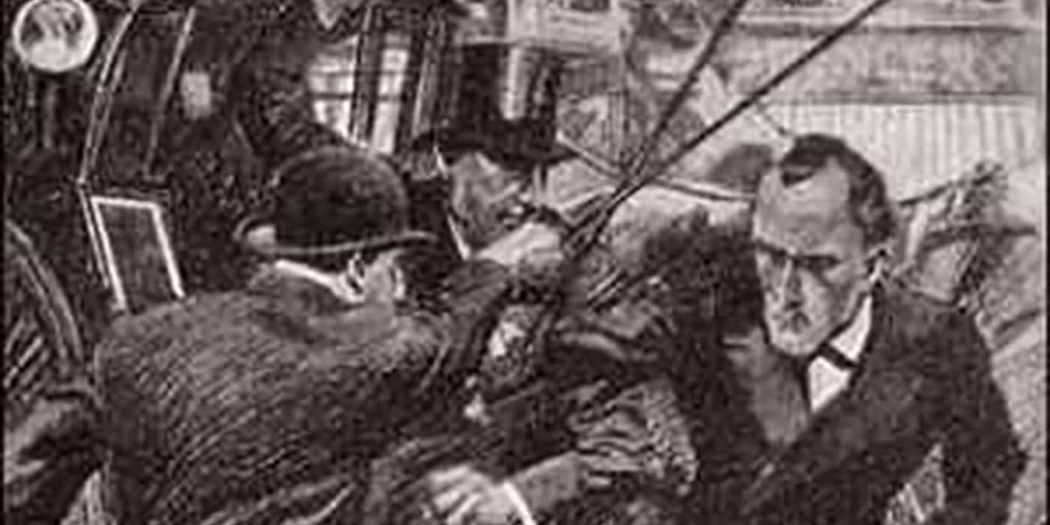 Holmes utiliza su bastón para repeler a un maleante.