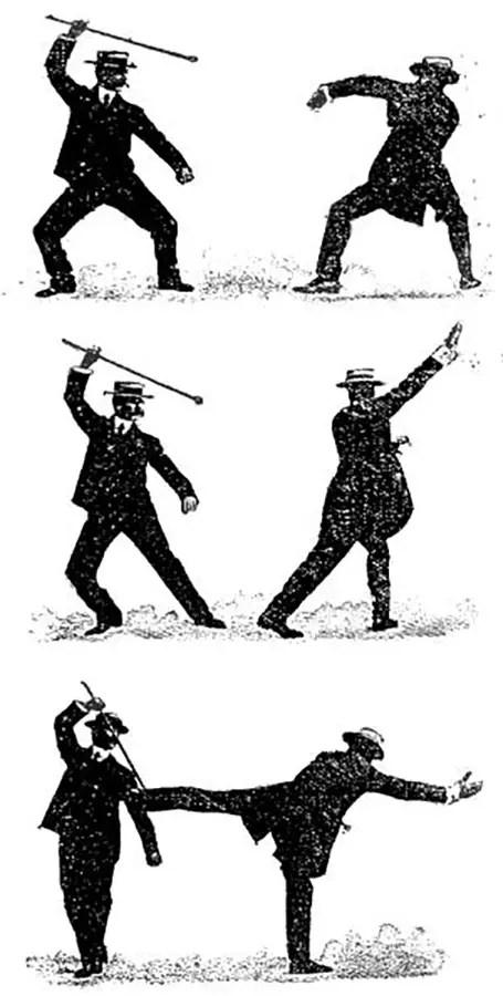 Ilustración antigua sobre técnicas de bartitsu.