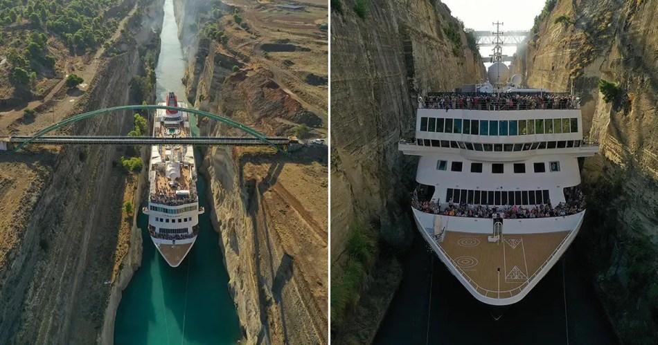 Imagen de un crucero y uno de los puentes que atraviesan al Canal de Corinto.
