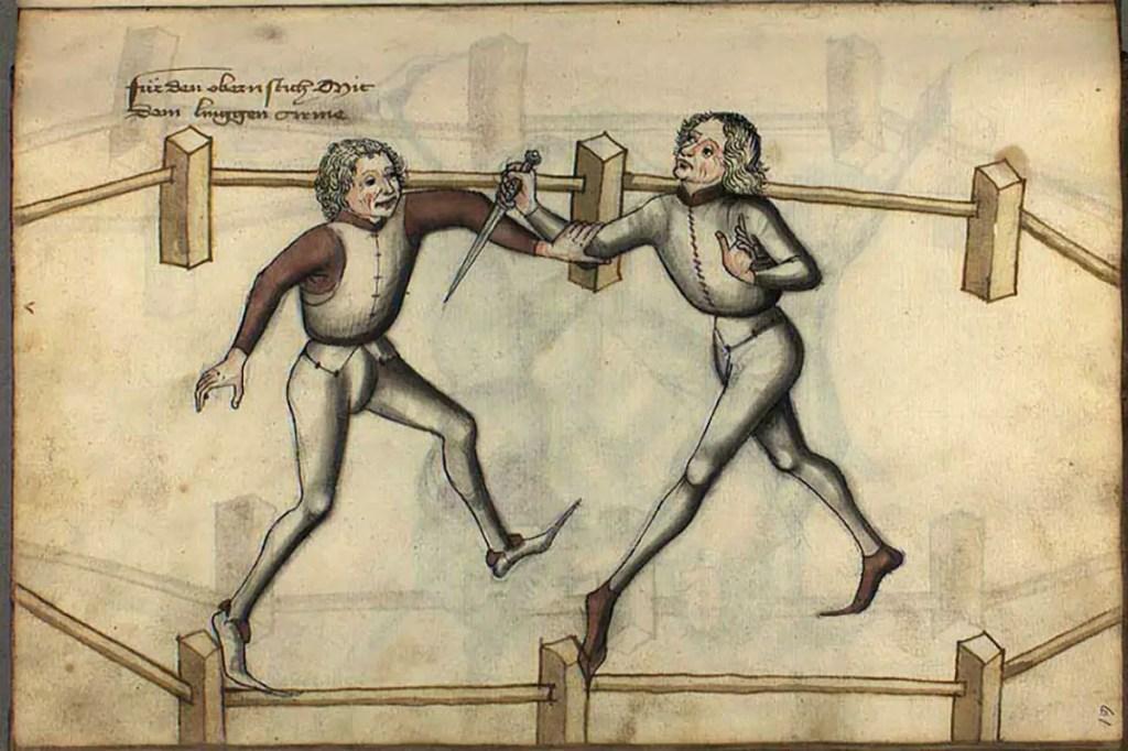 Ilustración de dos hombres luchando con dagas.