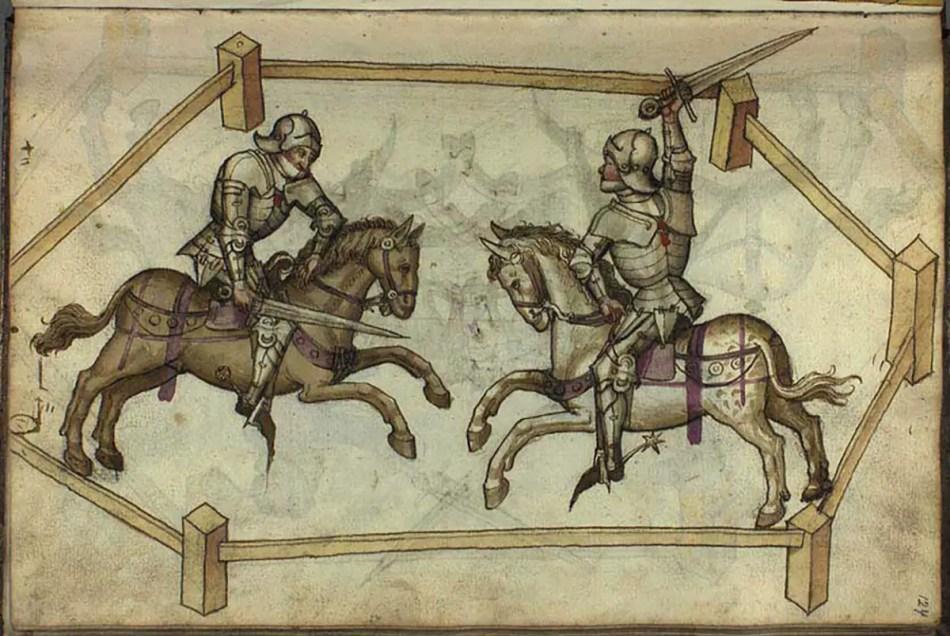 Ilustración de dos caballeros utilizando armaduras de placas en una justa.