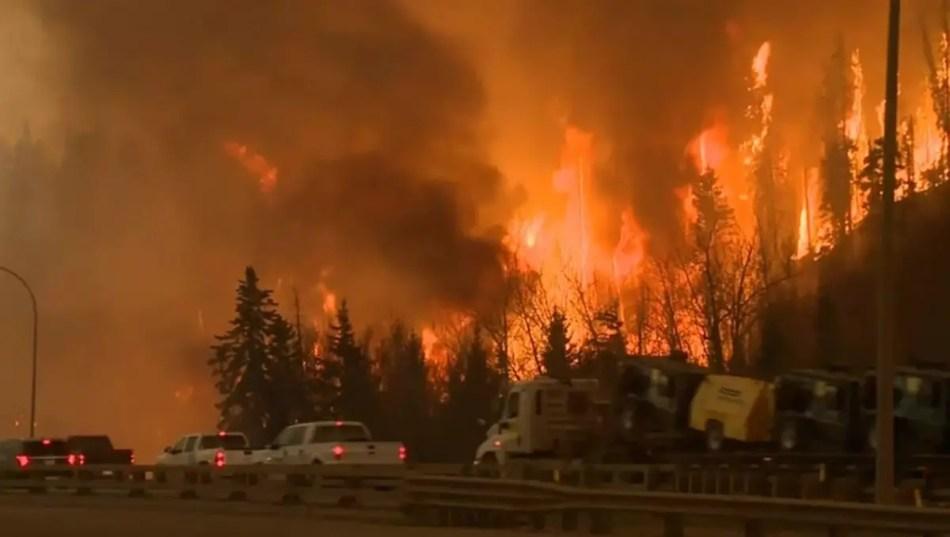 Embotellamiento en el Incendio forestal de Fort McMurray.
