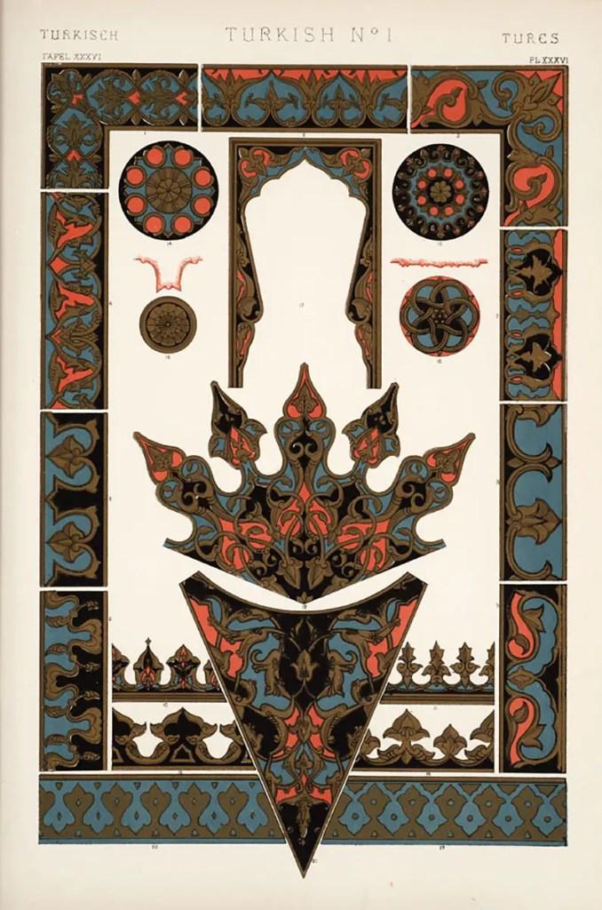 Página número uno con la sección de los ornamentos de la cultura turca.