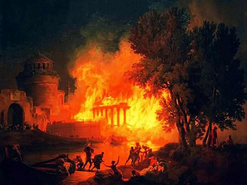 Cuadro que ilustra el fuego nocturno que se desató en roma por la noche en el año 60.
