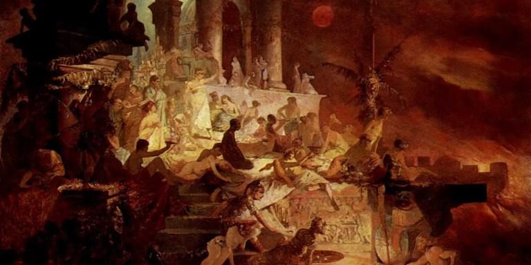 Pintura sobre el incendio de Nerón en Roma en el año 60.