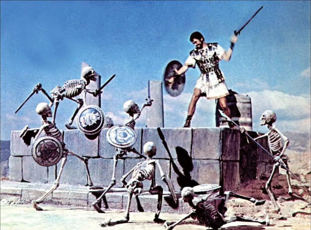 El héroe griego Jasón luchando contra los esqueletos espadachines