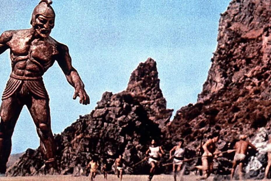 El héroe griego Jasón y los Argonautas corriendo del gigante.