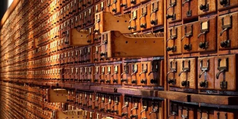 Cajones de archivos del Mundaneum.