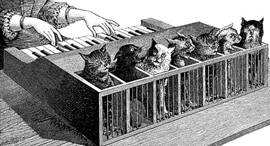 Imagen del piano hecho a partir de gatos de Athanasius Kircher.