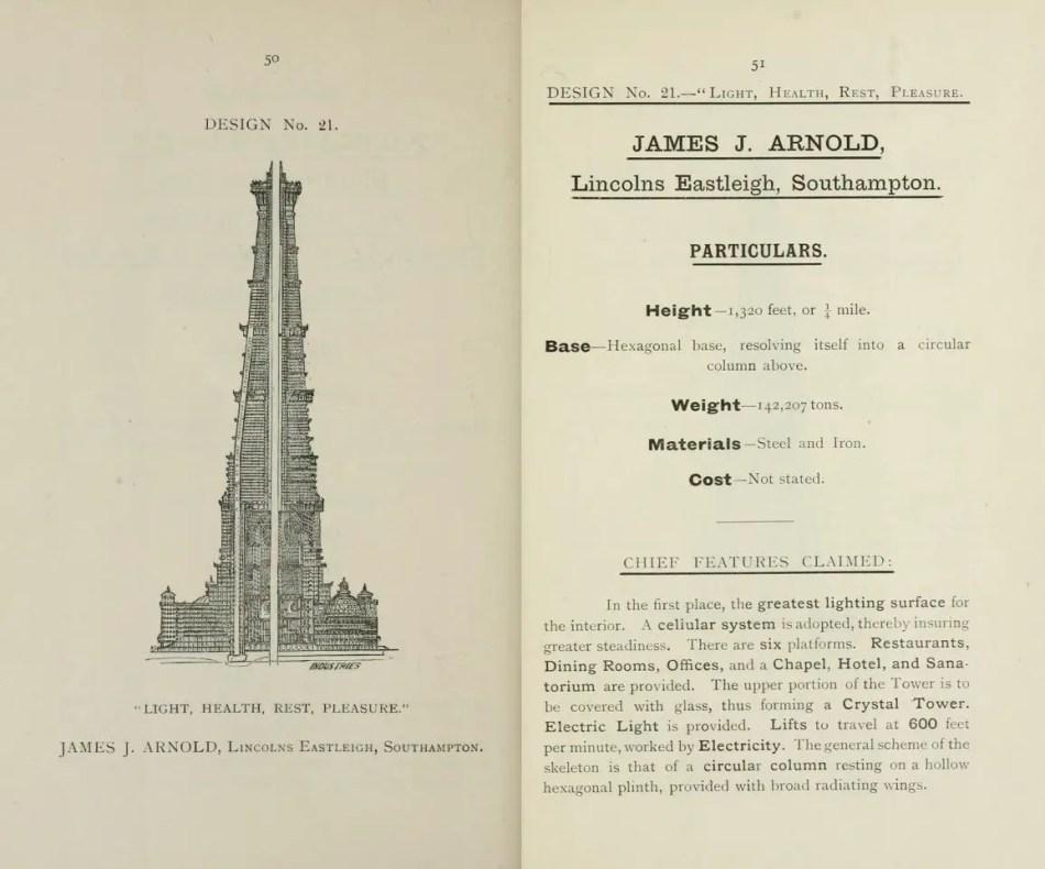 Propuesta de la torre de Wembley. Una de las más extrañas propuestas para la construcción de la Torre Eiffel londinense.