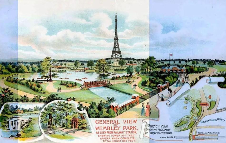Afiche publicitario de la torre de Wembley.