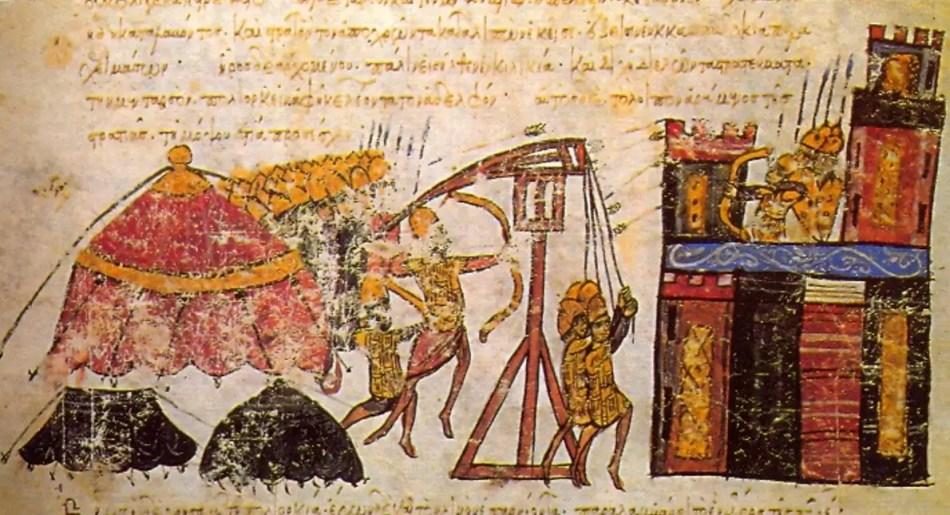 Iluminación medieval mostrando arqueros intercambiando flechas durante un asedio.