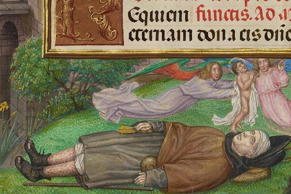 Iluminación medieval mostrando los efectos de la peste. La primer arma biológica en la Historia.