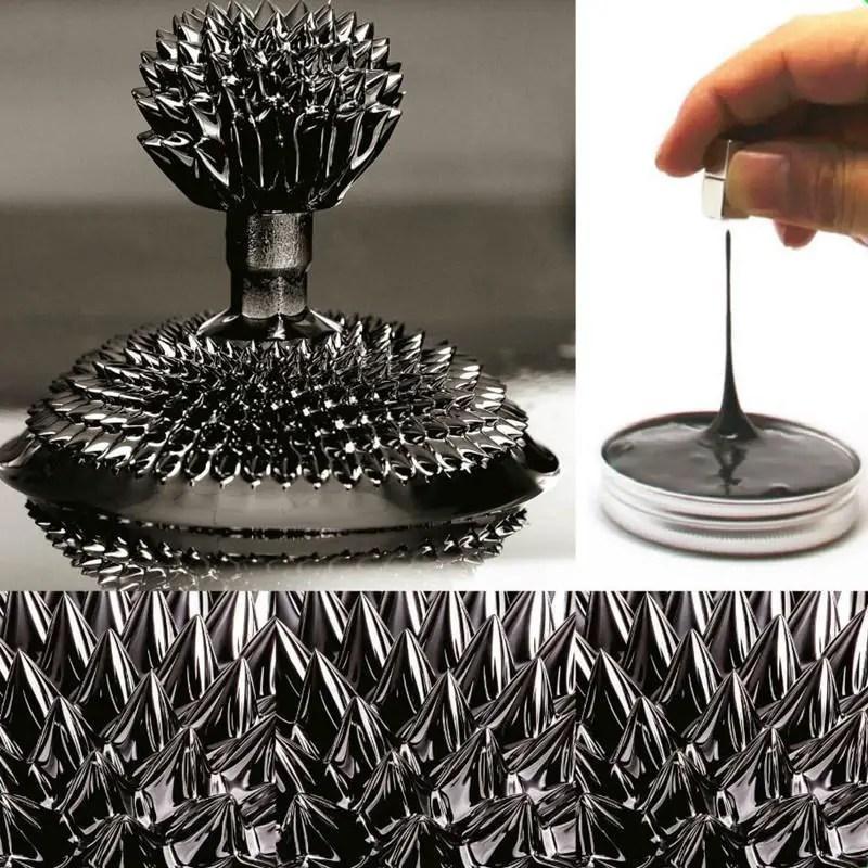 Demostración del comportamiento de los ferrofluidos.