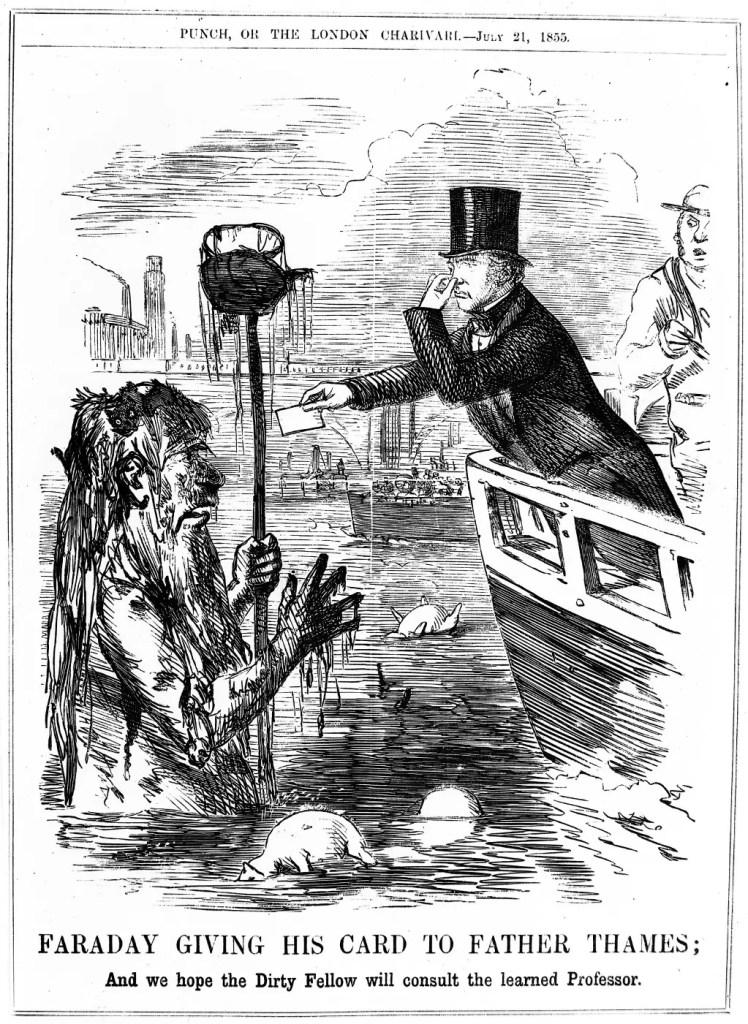 Grabado de época del Gran Apestamiento ilustrando la contaminación del río Támesis.