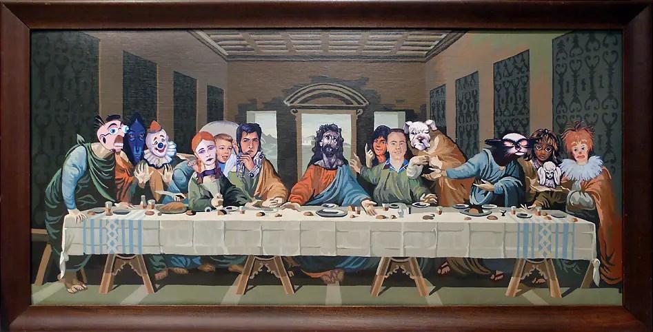 Pintura que intenta ser una recreación de la La Última Cena de Leonardo Da Vinci.