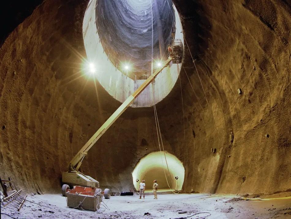 Excavación del túnel principal del SSC o Súper colisionador superconductivo.