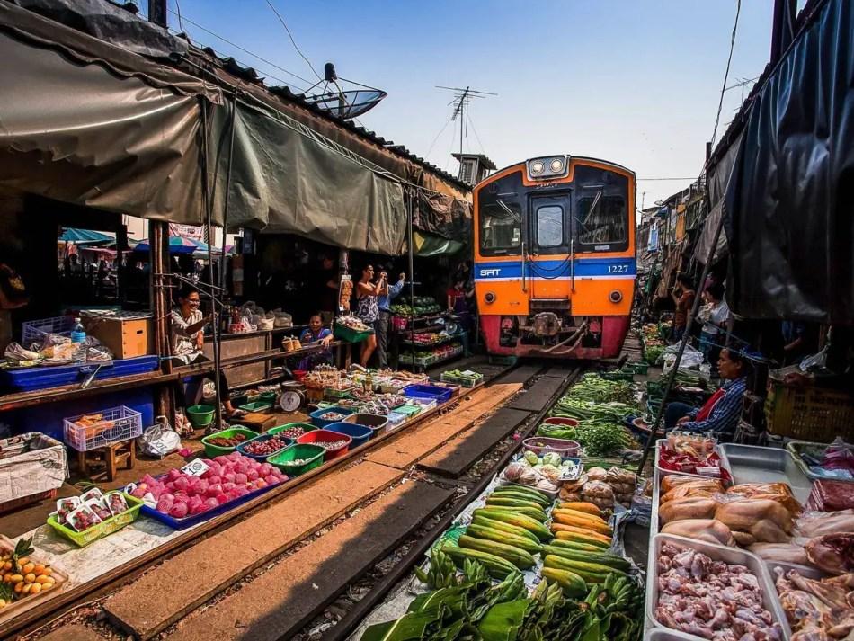 Fotografía del tren de Mae Klong.