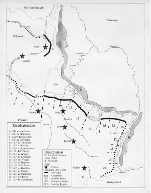 Mapa mostrando los distintos tipos de fortificaciones de la Línea de Maginot.