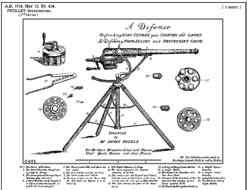 Patente de principios del siglo XVIII de la Puckle Gun.