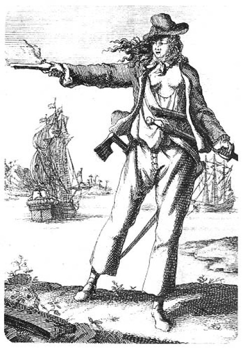 Ilustración de la mujer pirata Anne Bonny.