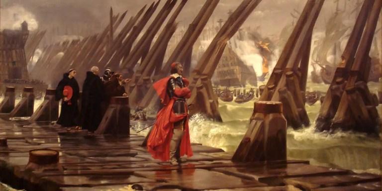 El cardenal Richelieu inspeccionando las defensas del puerto. Este cardenal tuvo un rol fundamental en la historia del cuchillo de mesa.