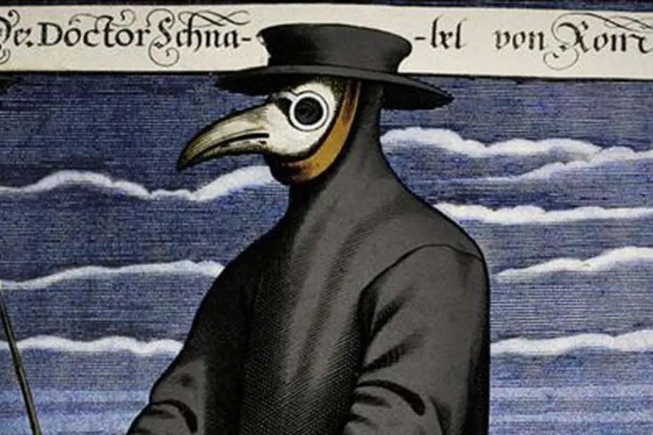 Doctor de la plaga vistiendo una de sus características máscaras antiplaga, Paul Fürst.