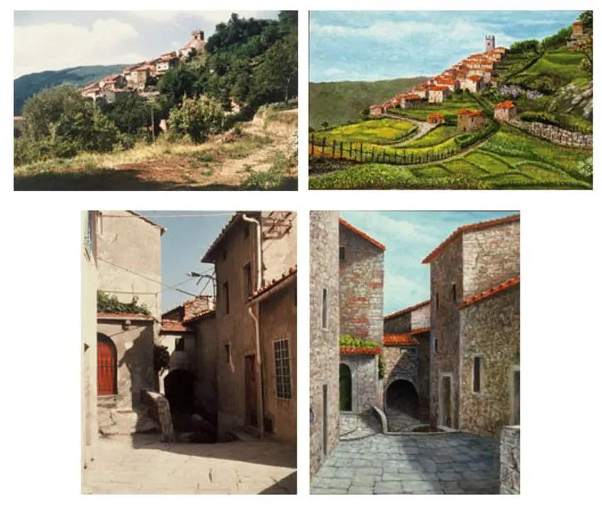 Dos pinturas de Pontito realizadas por Franco Magnani completamente de memoria gracias a su poderosa memoria fotográfica junto a dos fotografías del pueblo para su comparación.
