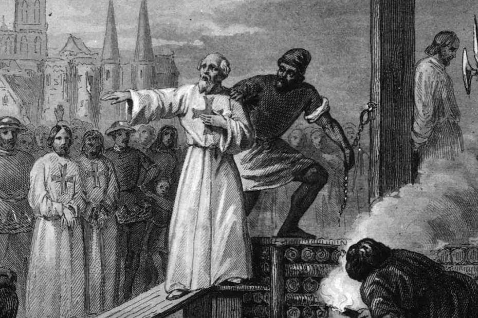 Jacques de Molay siendo conducido a la hoguera en el año 1314 para su ejecución. Los templarios y la historia del número 13,