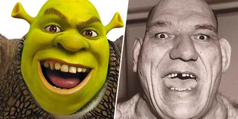 Comparación de Shrek y Maurice Tillet.