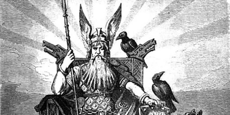 Odín, el dios tuerto de la mitología nórdica y sus cuervos.