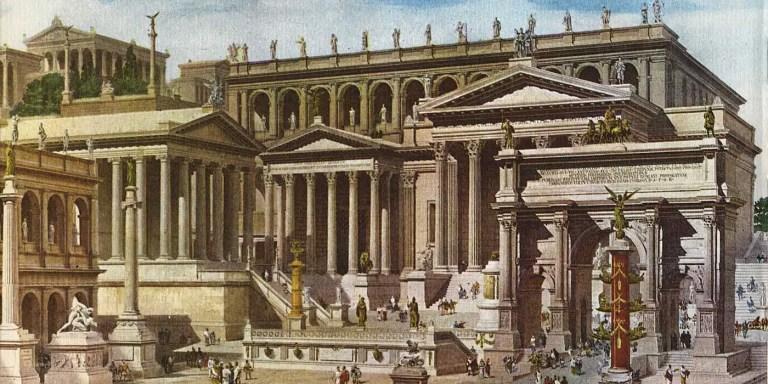 Ilustración del Foro Romano por Becchetti, siglo XIX.