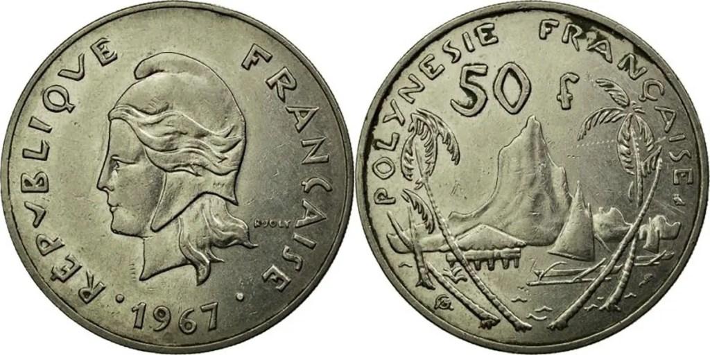 50 francos de la polinesia francesa.