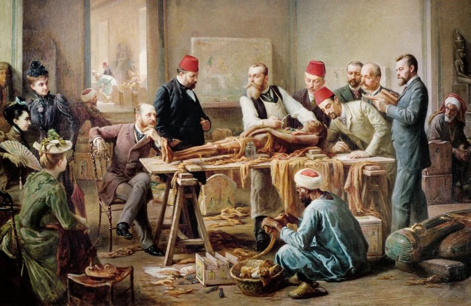 Desenrollando una momia en el Cairo. Pintura de Paul Dominique Philippoteaux.