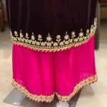 Wine Velvet Suit With Fusion Hand Embroideries Velvet Salwar Suits Angad Creations