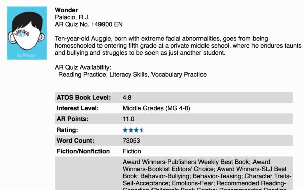 Screen Shot WONDER on Accelerated Reader website