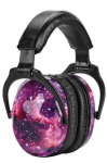 Noise canceling headphone with a black and purple galaxy pattern on ear pieces
