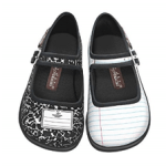 Mary jane-type shoes - one decorated to look like white notebook paper, the other decorated like the cover of a black and white composition notebook