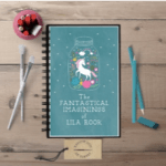 "Personalized notebook: teal background, image of a unicorn in a jar with the text ""The fantastical imaginings of Lila Rook"""