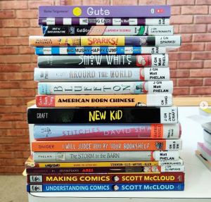 Stack of graphic novels