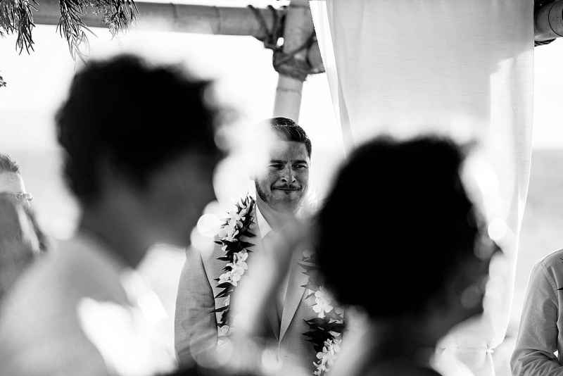 groom seeing bride for the first time at five palms maui