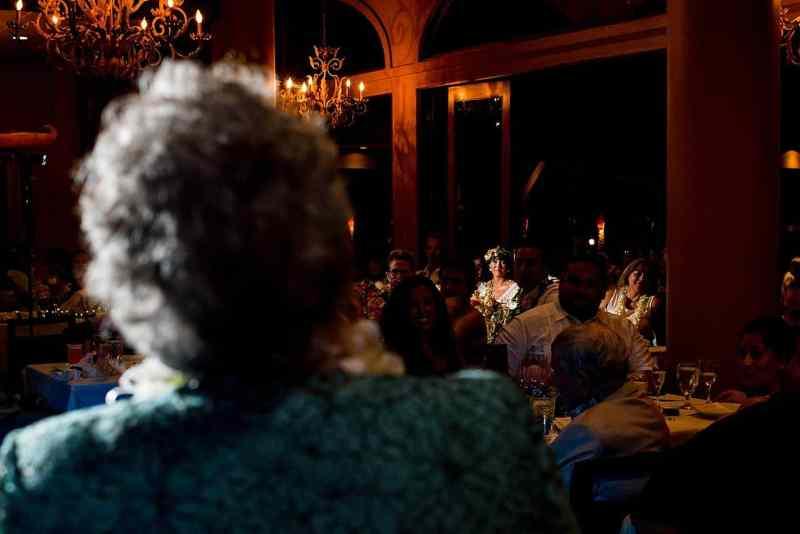 bride reacting to grandma at five palms maui restuarant wedding