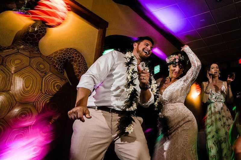 bride and groom dancing at five palms maui restaurarnt wedding
