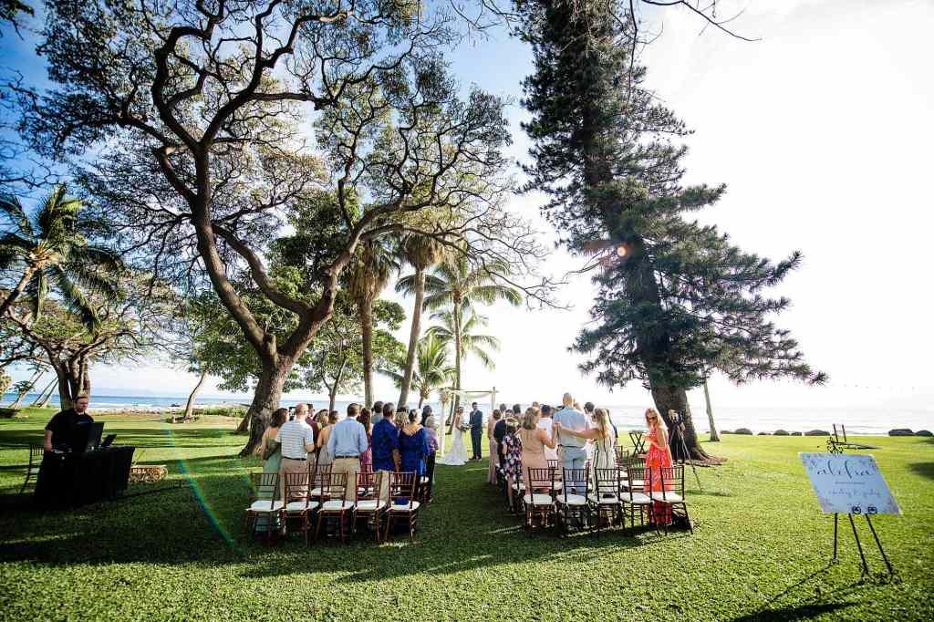 ceremony setup at olowalu plantation house