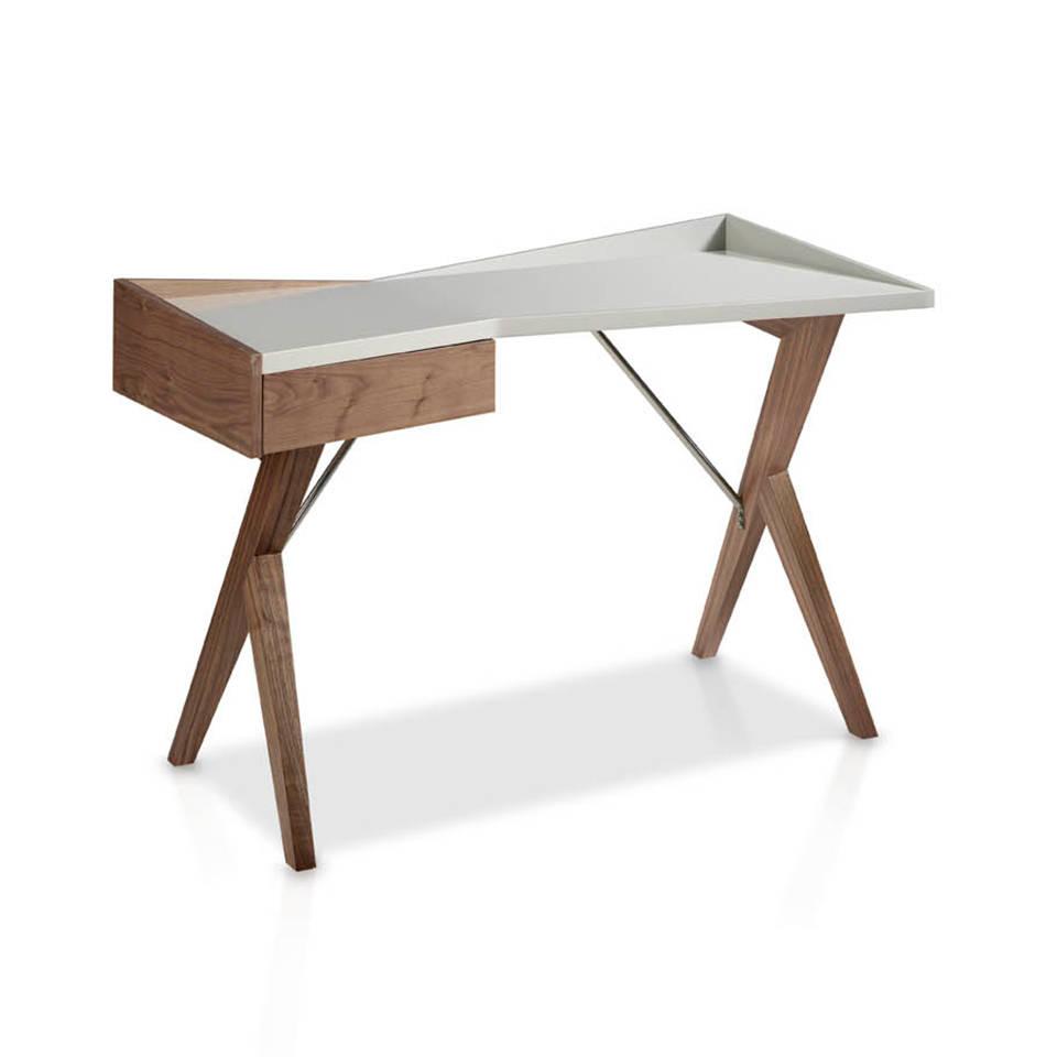 es escritorio de oficina en madera chapada en nogal y tapa en dm lacado en office desk in walnut veneer wood and laquered mdf top fr bureau