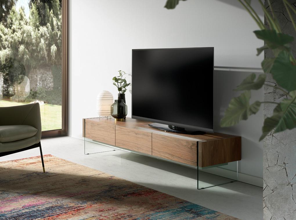 es mueble tv de madera chapada en nogal con laterales de cristal templado en walnut veneered wooden tv stand with tempered glass