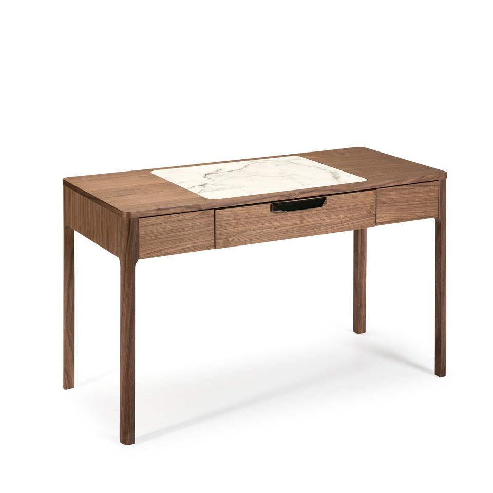 es escritorio con cajon fabricada en madera chapada en nogal en office desk with drawer made of walnut veneered wood de schreibtisch mit schublade