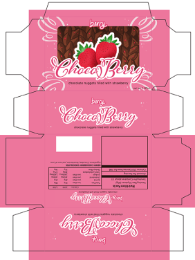 CHOCOBERRY Box Mockup Design Created a mockup of a fake chocolate brand called CHOCOBERRY that sells chocolate nuggets with pieces of strawberries inside. Created using Adobe Illustrator to create the box shape, layout and text and Adobe Photoshop to create chocolate and strawberry background.