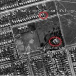 """Aerial view of the Flavelle estate in 1943 including the home """"Wellbank"""" and my Grandparent's home"""